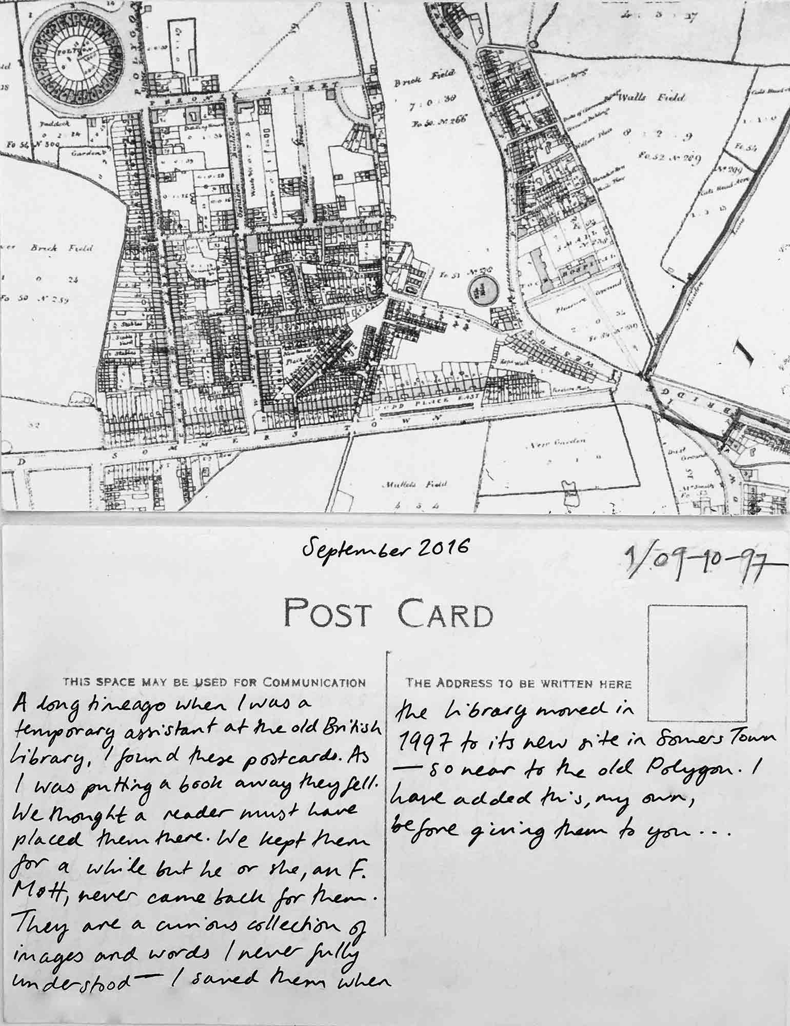 Postcard 1. Section of map, showing north of Euston Road and Somers Town of St Pancras by John Thompson, c. 1803. (King's Cross and north of Euston Road). Public Domain. Postcard and text by Emma Cheatle, 2016.