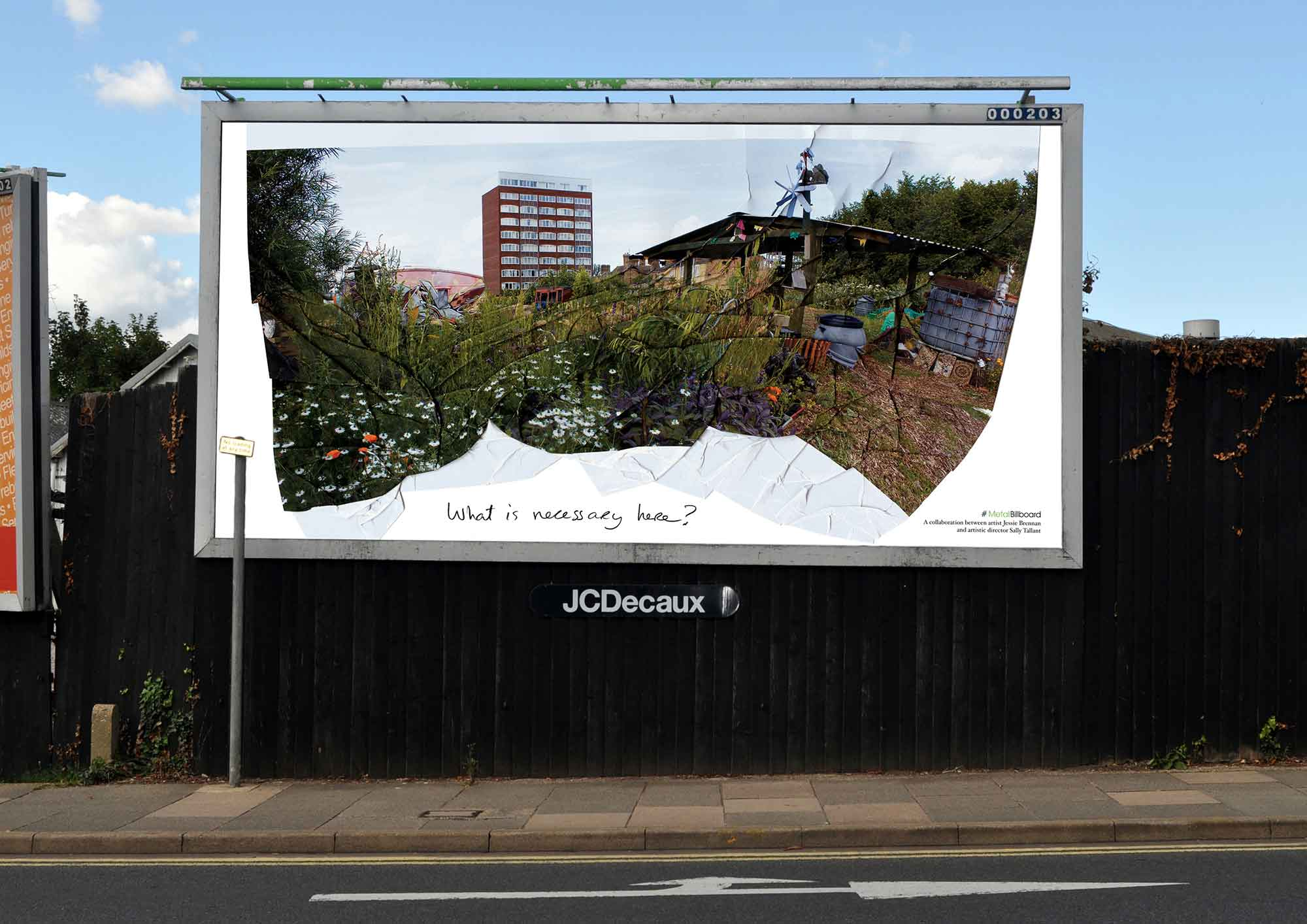 Jessie Brennan, What is necessary here? (2014), photograph on billboard, 304 x 609 cm, situated at Thorpe Road, Peterborough. Installation view. (Photo: Jessie Brennan)