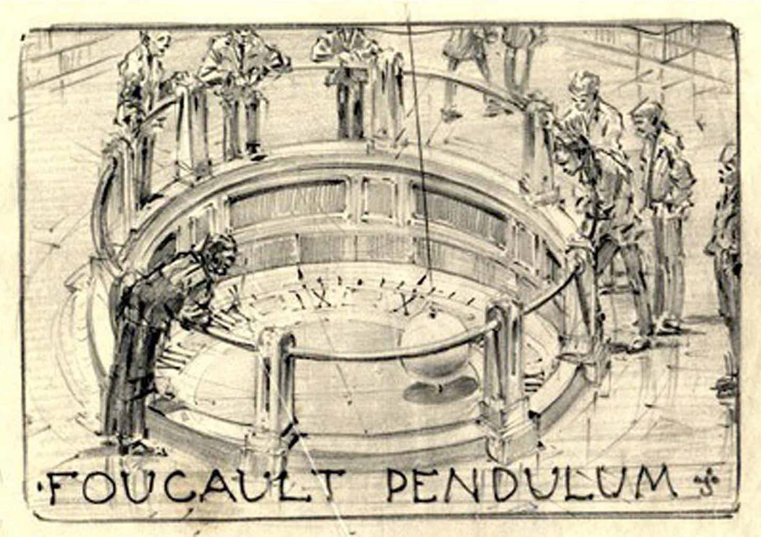 A Russell W. Porter concept drawing (ca. 1932) of the Foucault Pendulum in the Hall of Science. (Original drawing, Griffith Observatory collection). Commons, https://interestingengineering.com/the-device-that-lets-you-see-the-earth-turn-the-foucault-pendulum